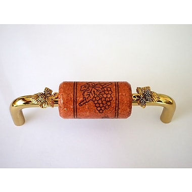 Vine Designs LLC Vineyard 4'' Center Bar Pull; Brass/Cherry/Gold