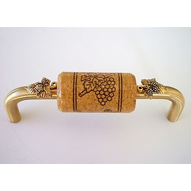 Vine Designs LLC Vineyard 4'' Center Bar Pull; Brush Brass/Oak/Gold