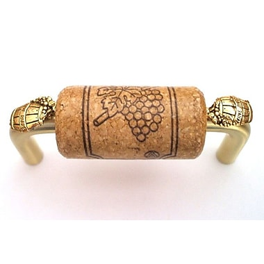 Vine Designs LLC VIneyard 3'' Center Bar Pull; Brush Brass/Oak/Gold