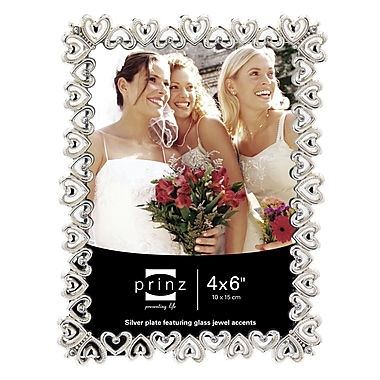 Prinz Heart To Heart Shiny Metal w/ Jewel Accents Picture Frame; 4'' x 6''