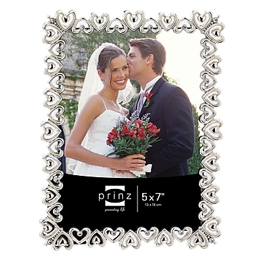 Prinz Heart To Heart Shiny Metal w/ Jewel Accents Picture Frame; 5'' x 7''