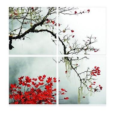 3 Panel Photo Autumn Branch 4 Piece Photographic Print Set; 56'' H x 56'' W x 1'' D
