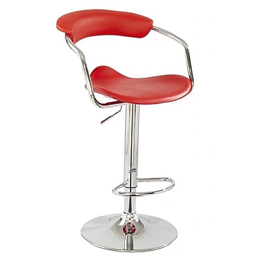 BestMasterFurniture Adjustable Height Swivel Bar Stool (Set of 2); Red