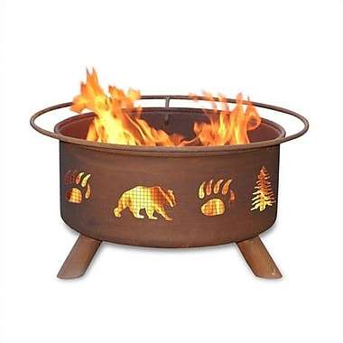 Patina Products Classic Bear and Tree Steel Wood Burning Fire pit