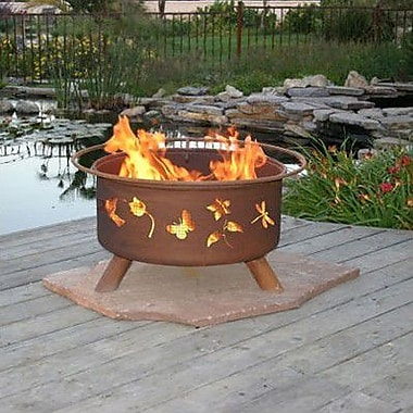 Patina Products Classic Flower and Garden Steel Wood Burning Fire pit