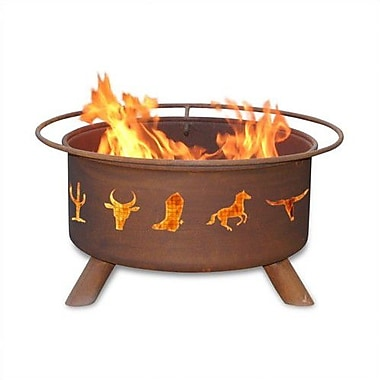 Patina Products Classic Moose and Tree Steel Wood Burning Fire pit
