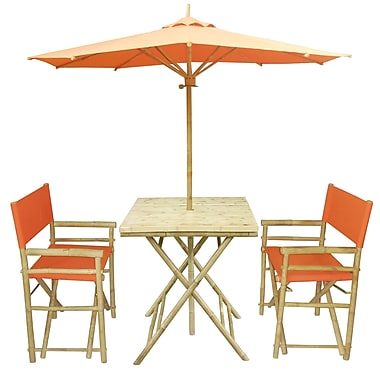 ZEW 4 Piece Dining Set; Orange