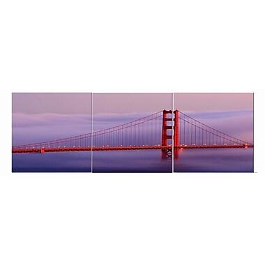 3 Panel Photo Golden Gate Purple 3 Piece Photographic Print Set