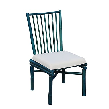ZEW Patio Dining Chair w/ Cushion; Turquoise