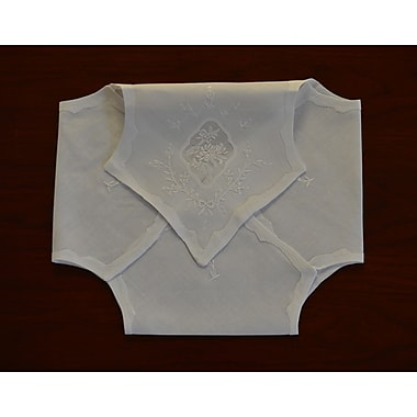 Fino Lino Organdy Embroidered Bunwarmer; BunWhite
