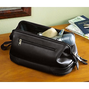 Royce Leather Executive Toiletry Travel Wash Bag with Zippered Bottom Compartment, Debossing, 3 Initials