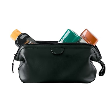 Royce Leather Travel Toiletry Wash Bag in Genuine Leather, Silver Foil Stamping, Full Name