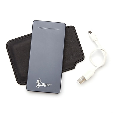 Royce Leather Luxury Dual-Port Travel Power Bank External Battery Charger w/Leather Case, Gold Foil Stamping, Full Name
