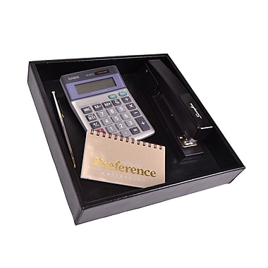 Royce Leather Executive Desktop Organizer Tray in Genuine Leather, Silver Foil Stamping, Full Name
