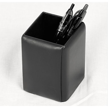 Royce Leather Pen Pencil Desk Accessory in Genuine Leather, Silver Foil Stamping, Full Name