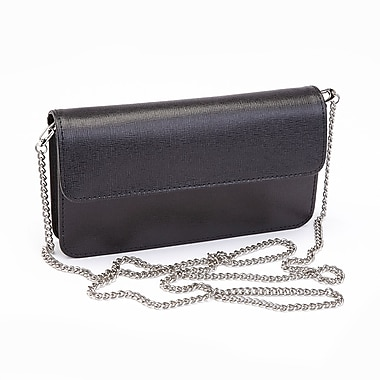 Royce Leather Chic RFID Blocking Women's Wristlet Cross Body Bag in Genuine Leather, Black, Silver Foil Stamping, Full Name