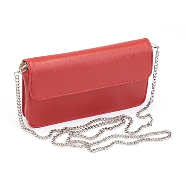 Royce Leather Chic RFID Blocking Women's Wristlet Cross Body Bag in Genuine Leather, Red, Debossing, Full Name