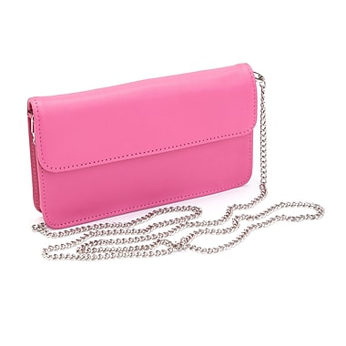 Royce Leather Chic RFID Blocking Women's Wristlet Cross Body Bag in Genuine Leather, Pink, Silver Foil Stamping, Full Name