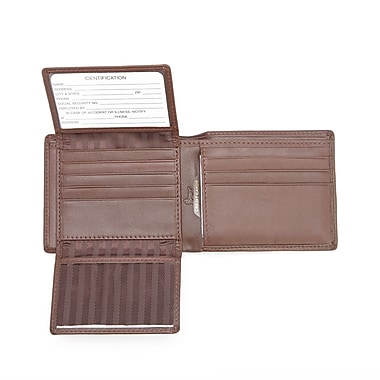 Royce Leather GPS Tracking and RFID Blocking Slim Women's Wallet in Genuine Leather (CO-5), Silver Foil Stamping, 3 Initials