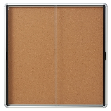 Euro Frame Enclosed Cork Board Sliding Door, 12-Sheet
