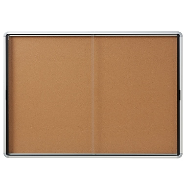 Euro Frame Enclosed Cork Board Sliding Door, 18-Sheet