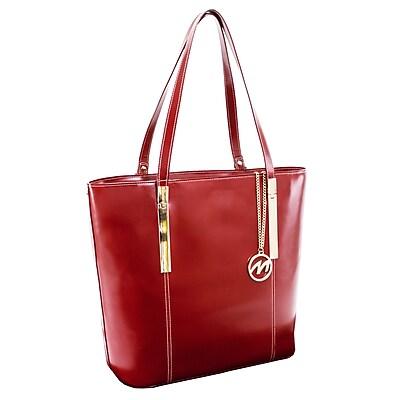 McKlein M Series, CRISTINA, Genuine Cowhide Leather, Ladies' Tote with Tablet Pocket, Red (97546)