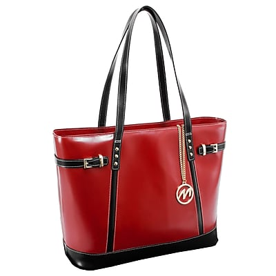 McKlein M Series, SERAFINA, Genuine Cowhide Leather, Ladies' Tote with Tablet Pocket, Red (97566)