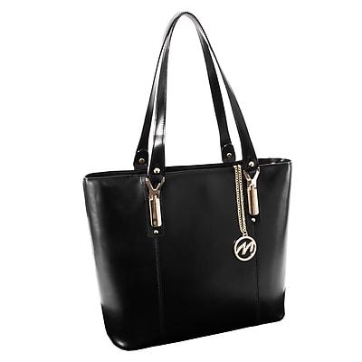 McKlein M Series, SAVARNA, Genuine Cowhide Leather, Ladies' Tote with Tablet Pocket, Black (97575)