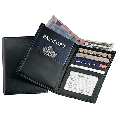 Royce Leather GPS Tracking & RFID Blocking Executive Travel Passport Wallet in Leather, Black, Silver Foil Stamping, 3 Initials