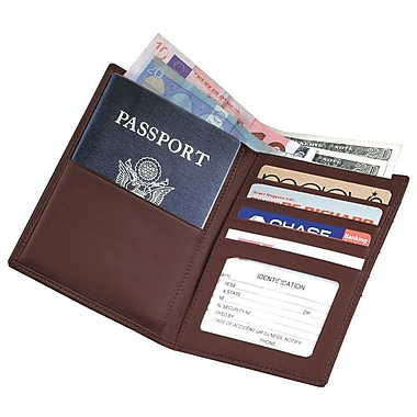 Royce Leather GPS Tracking & RFID Blocking Executive Travel Passport Wallet in Leather, Coco, Debossing, 3 Initials