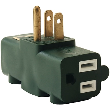 Axis 3-Outlet Heavy-Duty Grounding Adapter, Green (45092)