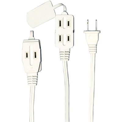 45503  AXIS 3-Outlet White Wall Hugger Indoor Extension Cord,6ft for tight space