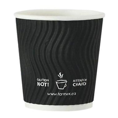 Tannex – Gobelets à café à double paroi en papier à motif ondulé, 4 oz/118 ml, noir