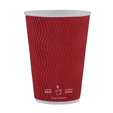 Double Wall Ripple Cup, 16oz/473ml, Red