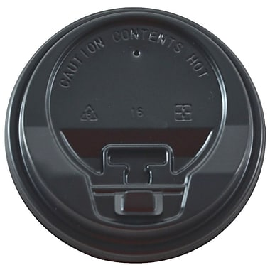 Tannex Dome Lid with Latch for 10oz, 12oz, and 16oz Paper Coffee Cups, Black