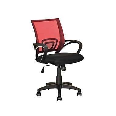 CorLiving – Chaise de bureau à dossier en mailles rouge LOF-314-O