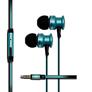 Mental Beats – Écouteurs-boutons Xcentric Extra Bass Audio avec microphone, sarcelle