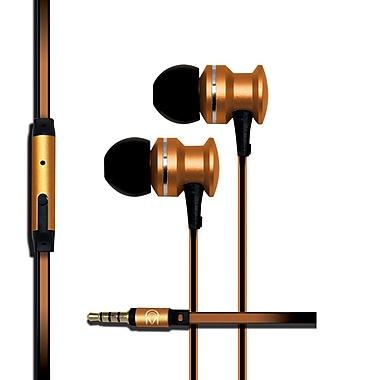 Mental Beats – Écouteurs-boutons Xcentric Extra Bass Audio avec microphone, doré