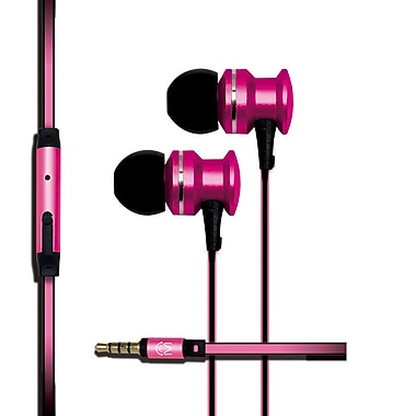 Mental Beats Xcentric Extra Bass Audio In-Ear Earbuds with Microphone, Pink
