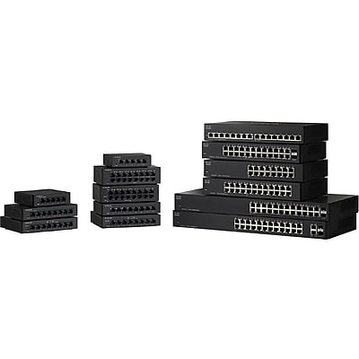 Cisco™ SF110-16 Unmanaged 16-Port Fast Ethernet Desktop Switch, Black (SF110-16-NA)