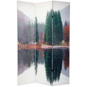 Oriental Furniture 70.88'' x 47.25'' Double Sided Trees 3 Panel Room Divider