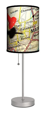 Lamp-In-A-Box Travel Pin Map Madrid 20'' Table Lamp