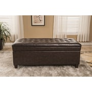 Bellasario Collection Classic Waxed Texture Dark Tufted Wood Storage Bench