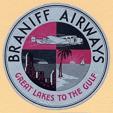 Marmont Hill Braniff Airlines Licensed Smithsonian Graphic Art on Wrapped Canvas; 24'' H x 24'' W