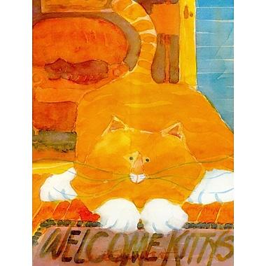 Caroline's Treasures Orange Tabby Welcome Cat House Vertical Flag