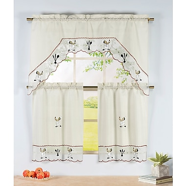 Window Elements Wine Chef 3 Piece Embroidered Kitchen Valance and Tier Set