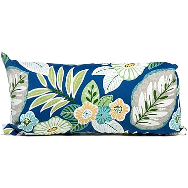 TK Classics Tropical Floral Outdoor Lumbar Pillow (Set of 2); Blue