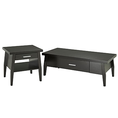 Brassex 151027 Coffee and End Table Set, Dark Cherry