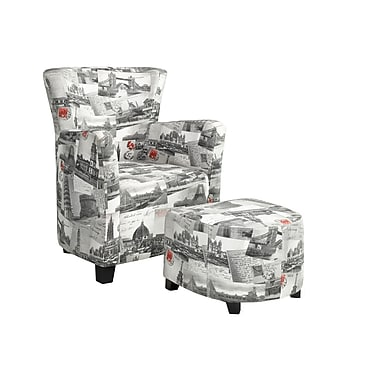 Brassex 710-CT Club Chair and Ottoman, City Print Fabric
