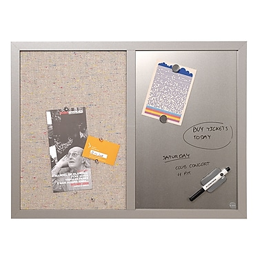 MasterVision Combo Silver Dry Erase & Grey Fabric Bulletin Board, 24